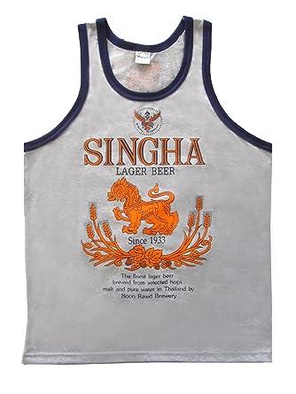 Beautiful Beer Singha T-shirt Vest Tank Top for Men Cotton Size L (Gray