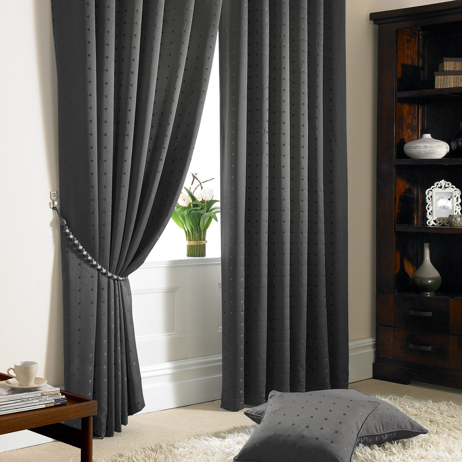 Just Contempo Jacquard Lined Pencil Pleat Curtains Purple 46x54 Inches