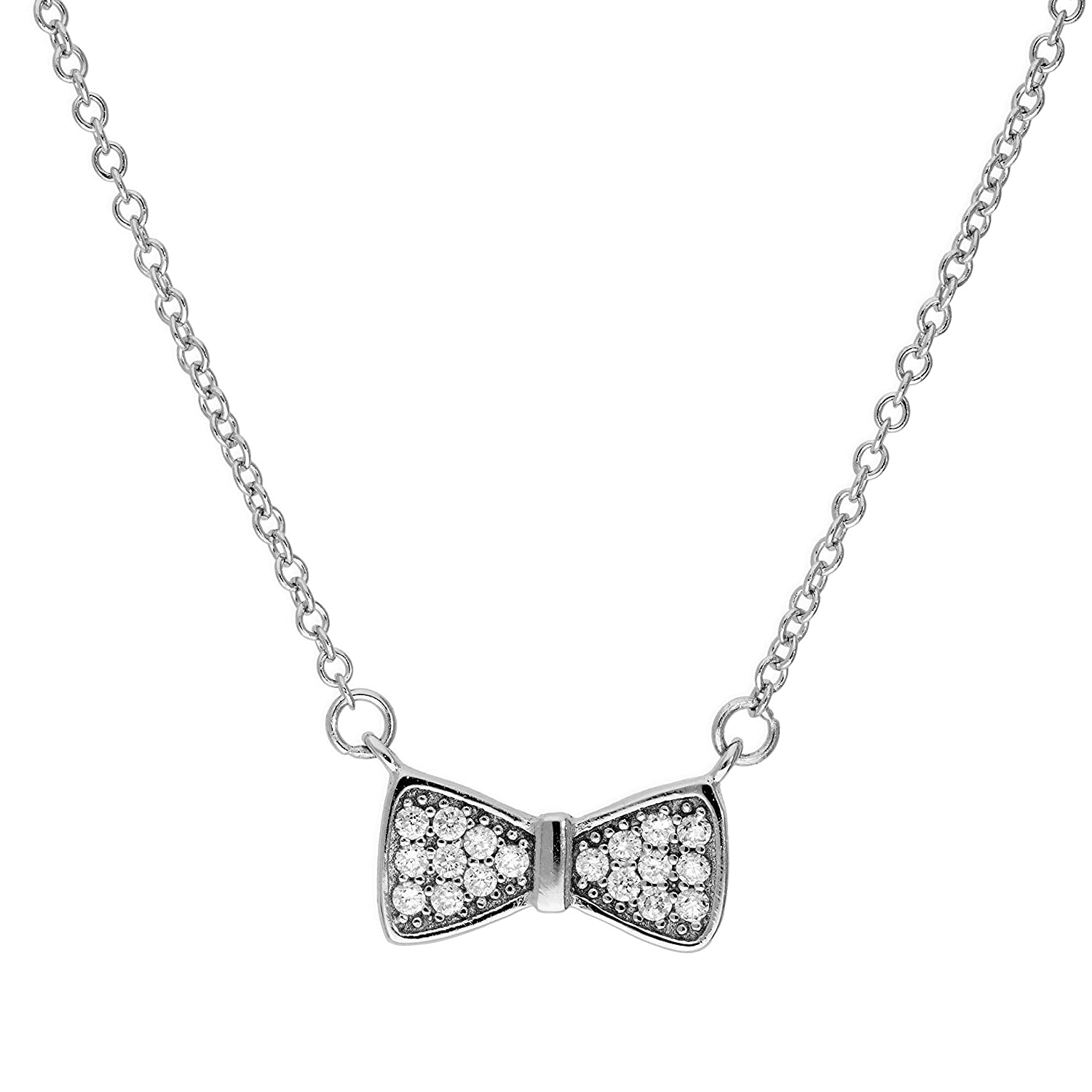 jewellerybox Sterling Silver /& Clear CZ Crystal Bow Necklace