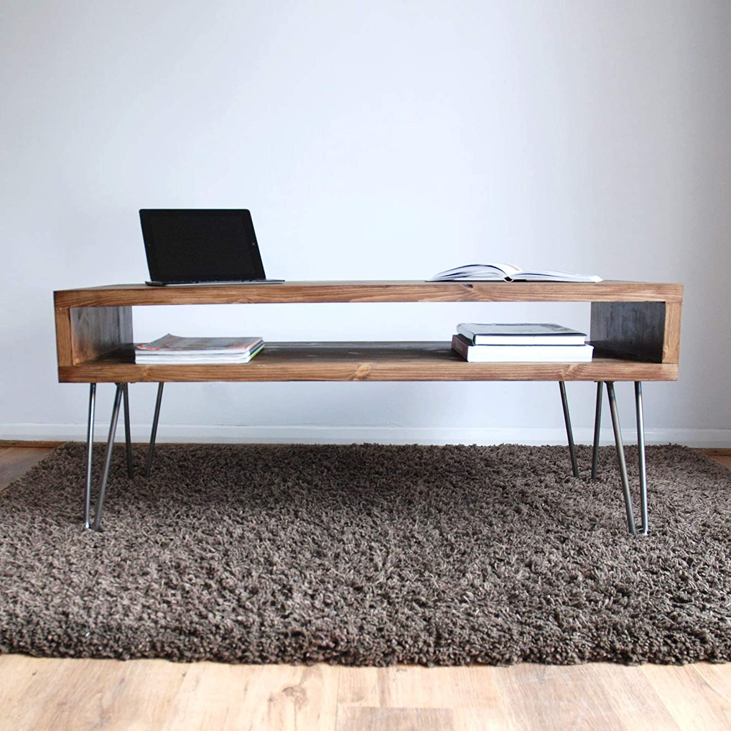 - Retro Box Coffee Table With Metal Hairpin Legs - Solid Wood