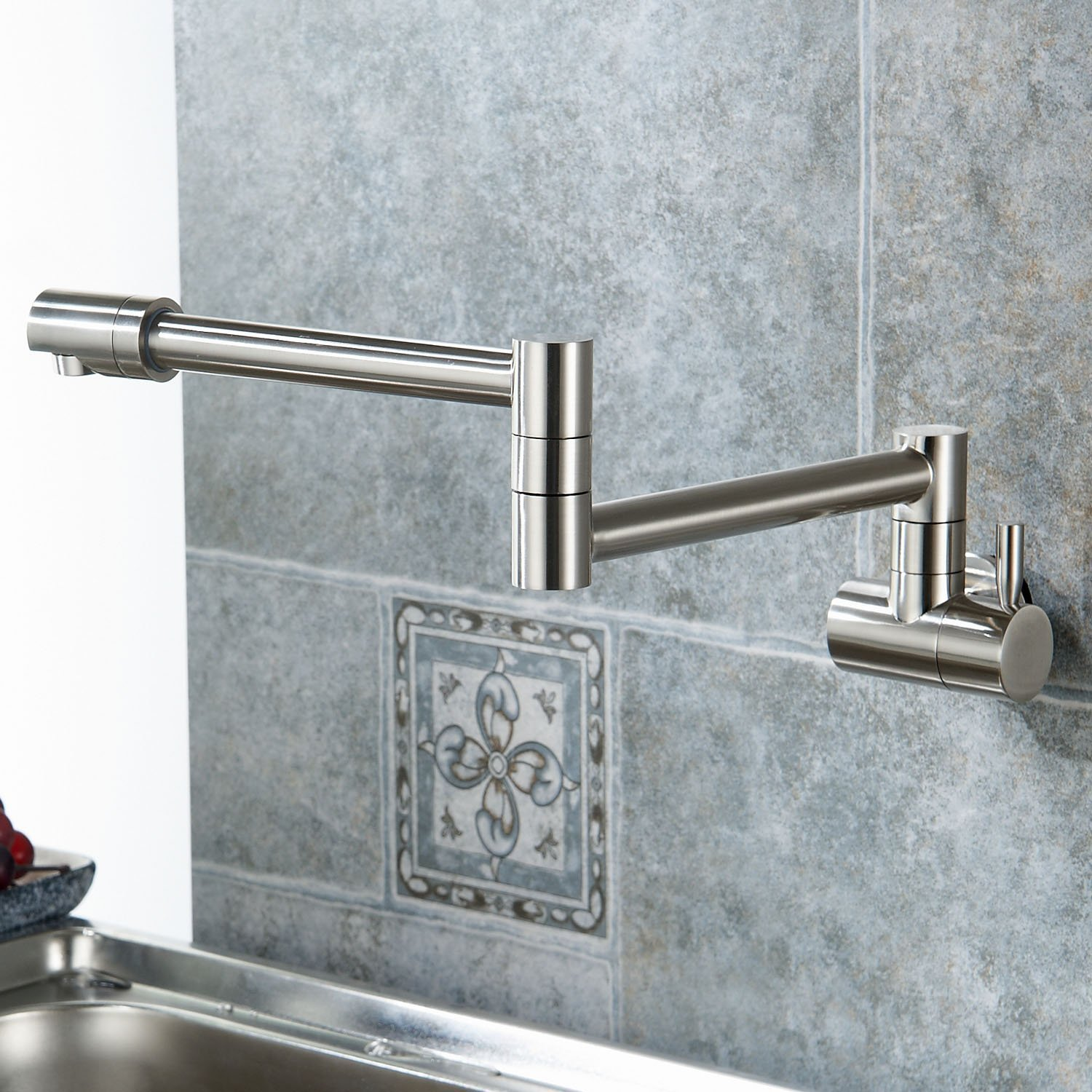 Aquafaucet Wall Mounted Pot Filler Kitchen Faucet With Double Joint ...