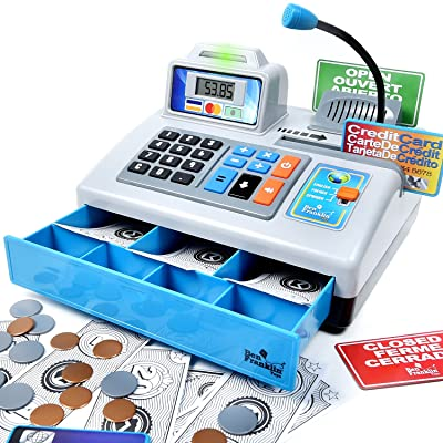Ben Franklin Toys Talking Toy Cash Register - STEM Learning 69 Piece Pretend Store with 3 Languages, Paging Microphone, Credit Card, Bank Card, Play Money and Banking for Kids, Silver: Toys & Games