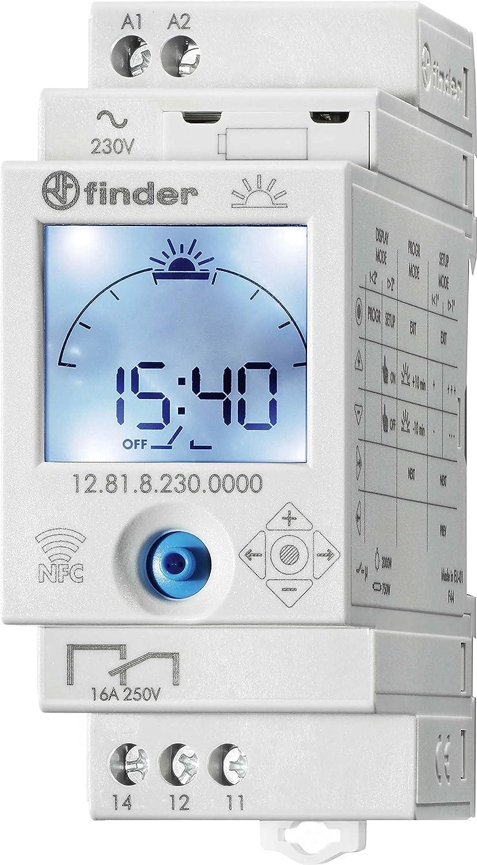 Finder Astro 128182300000PAS - Interruptor horario diario 1 contacto 16 A - AC (50/60 Hz) - 230 V con visualizació n de reserva de la marcha e inversor pila de litio CR2 incluida color gris