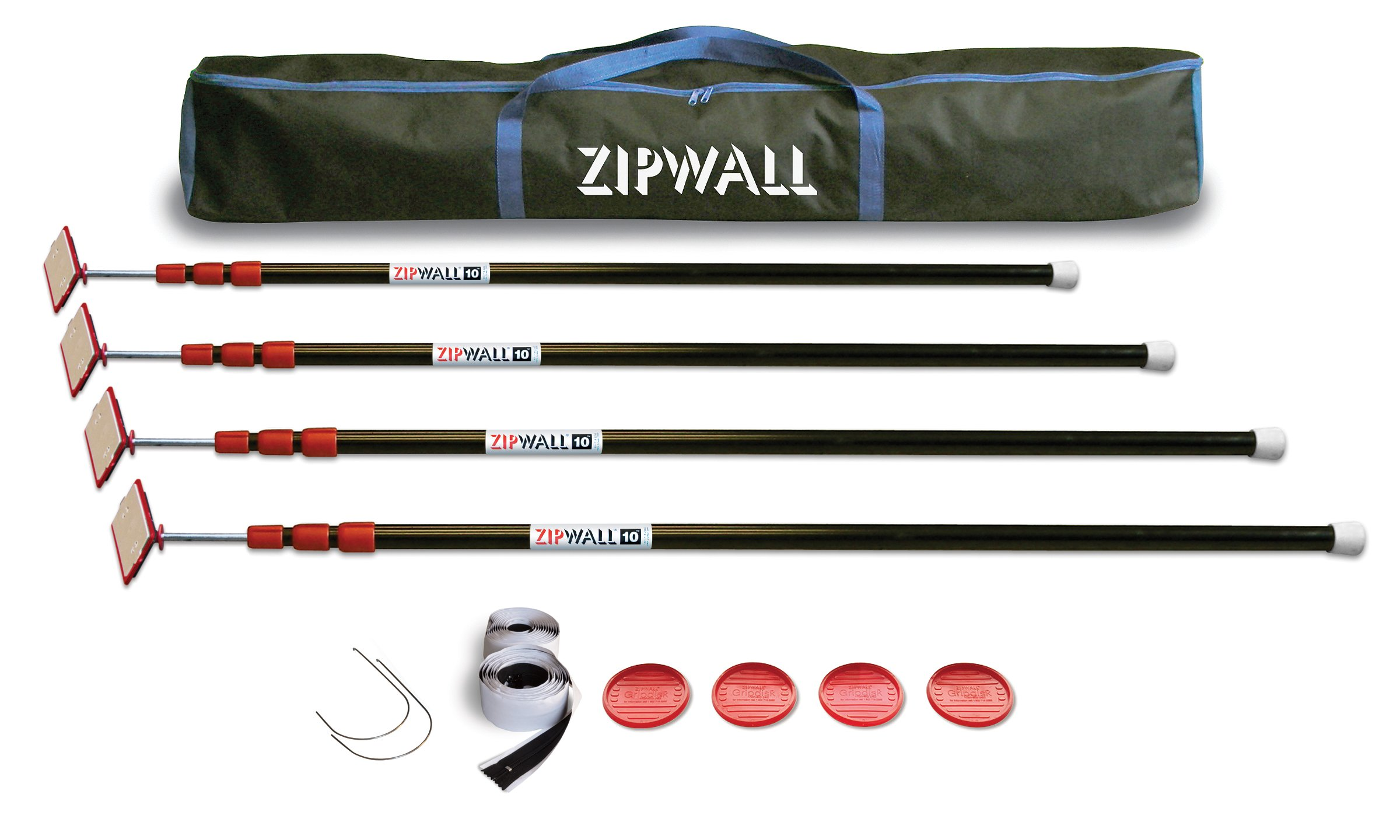ZipWall ZP4 ZipPole 10-Foot Spring-Loaded Poles for Dust Barriers, 4-Pack by ZipWall