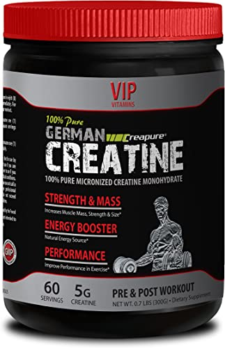 Natural Bodybuilding Supplements – German CREATINE CREAPURE Powder – PRE Post Workout – German creatine monohydrate – 1 Can 300 Grams 60 Servings