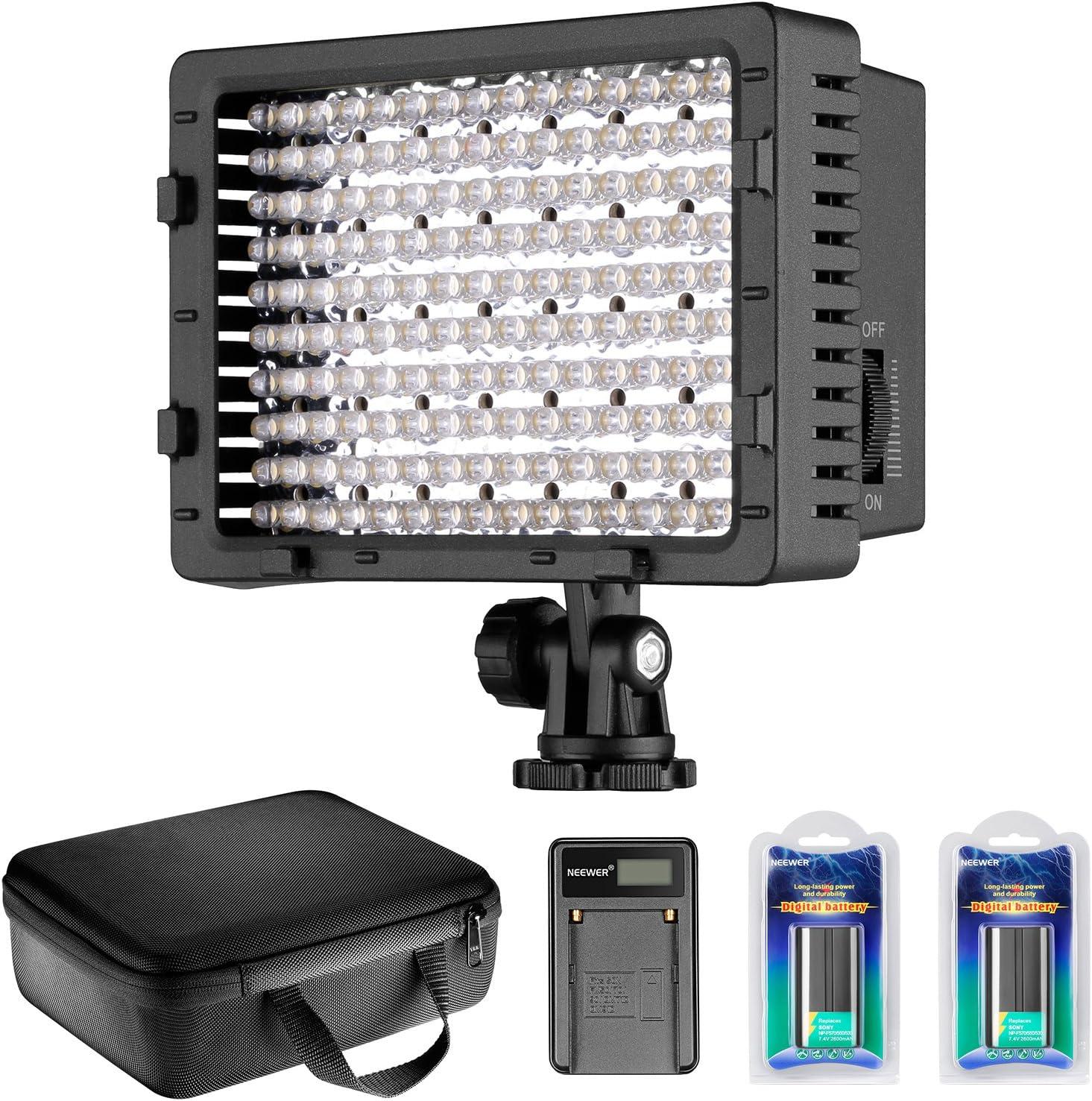 Neewer - Luz de vídeo LED Regulable 216 LED para cámara de vídeo con 2 Pilas de Litio NP-F550 2600 mAh Cargador USB Bolsa de Transporte para grabación de vídeo Youtube: Amazon.es: Electrónica
