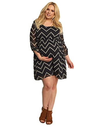 Pinkblush Maternity Black Beige Chevron Print Plus Size Dress 3x At