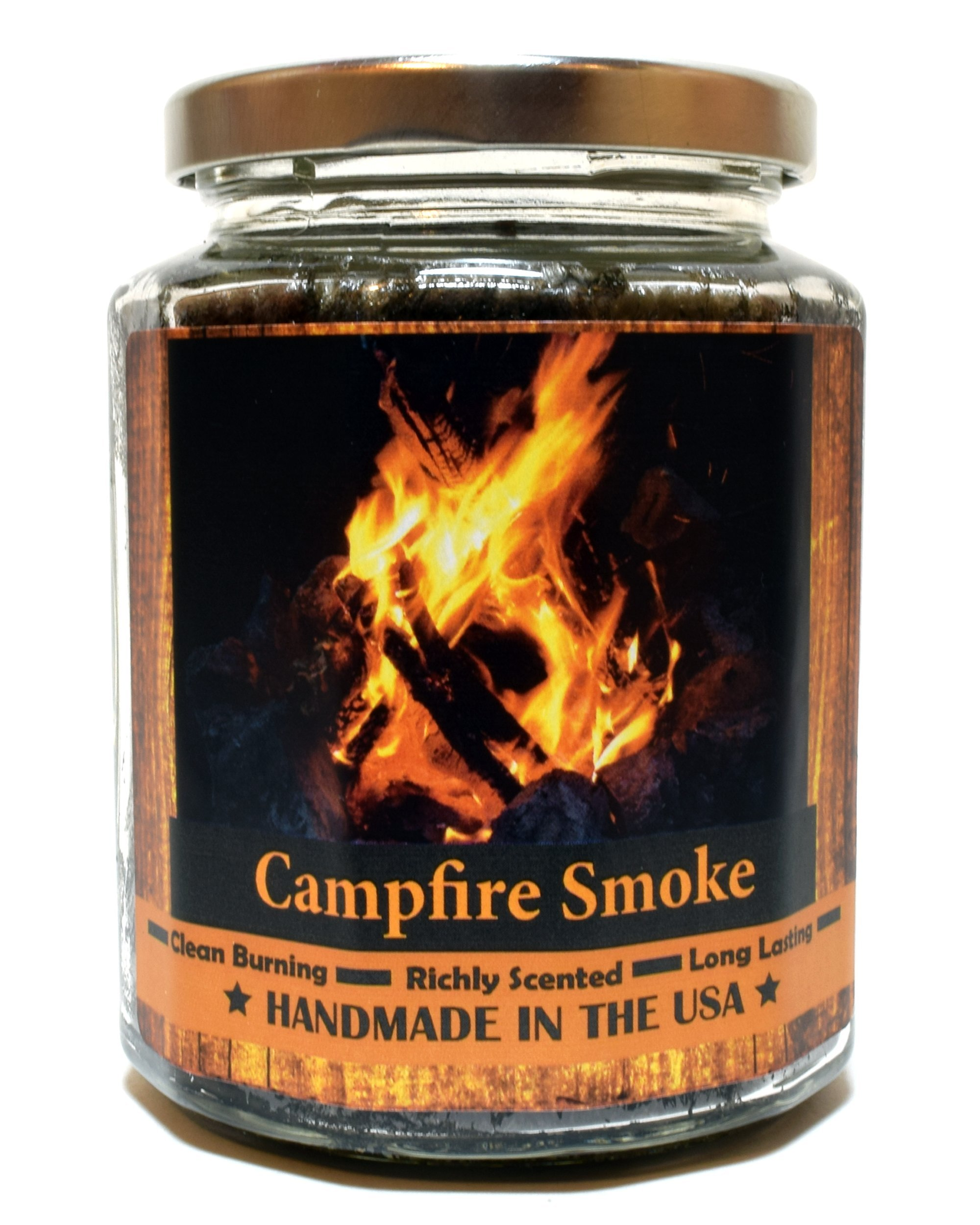 Campfire Smoke Wood Wick Candle, Super Scented Natural Wax Candle, Burning Wood Fireplace Candle (12 oz)