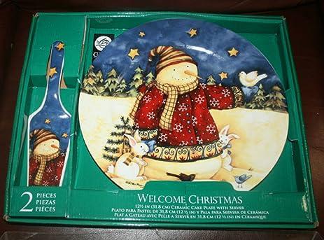Gibson Christmas Holiday 2 Piece Cake Plate Snowman Server Set & Amazon.com | Gibson Christmas Holiday 2 Piece Cake Plate Snowman ...