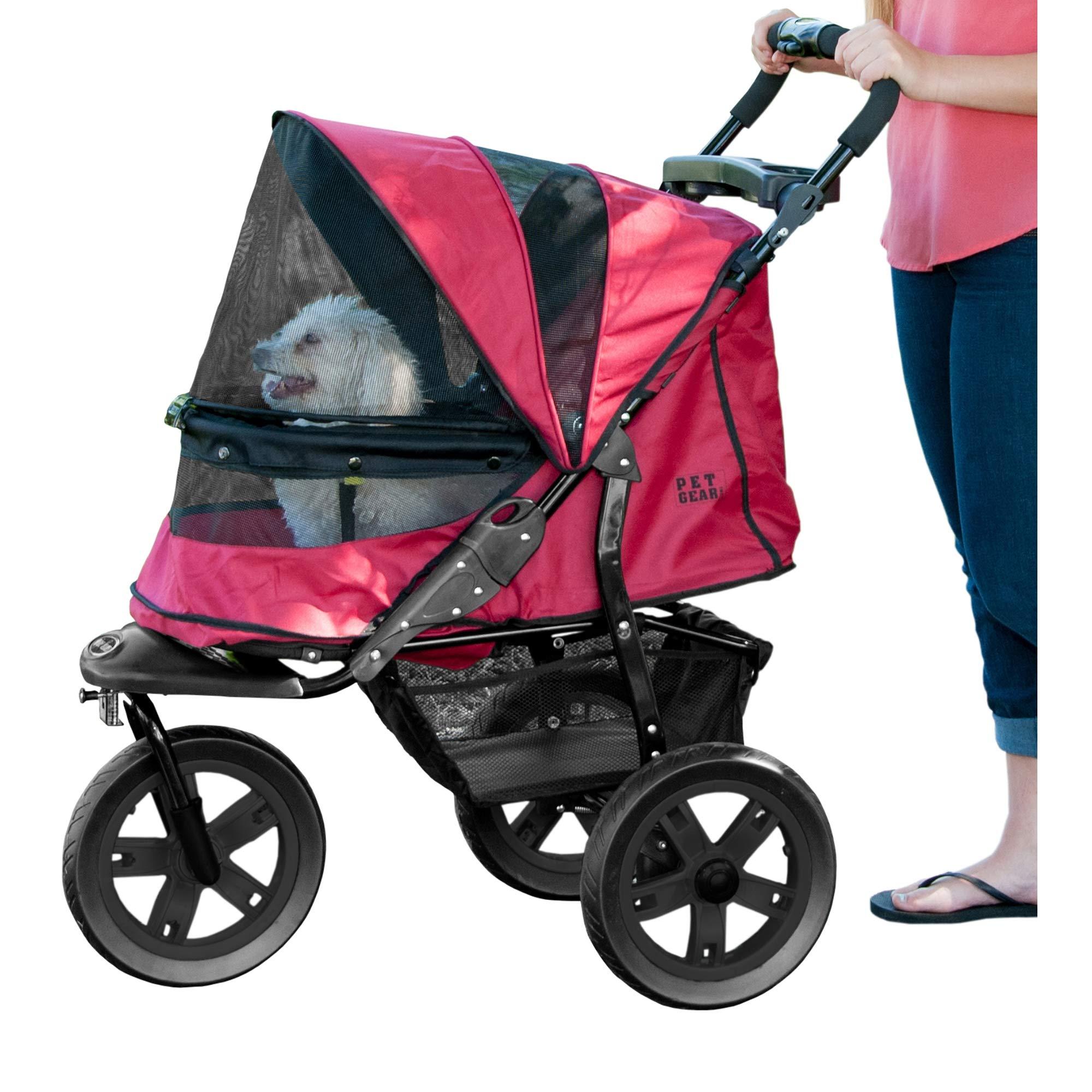 Pet Gear No-Zip AT3 Pet Stroller, Zipperless Entry, Rugged Red by Pet Gear