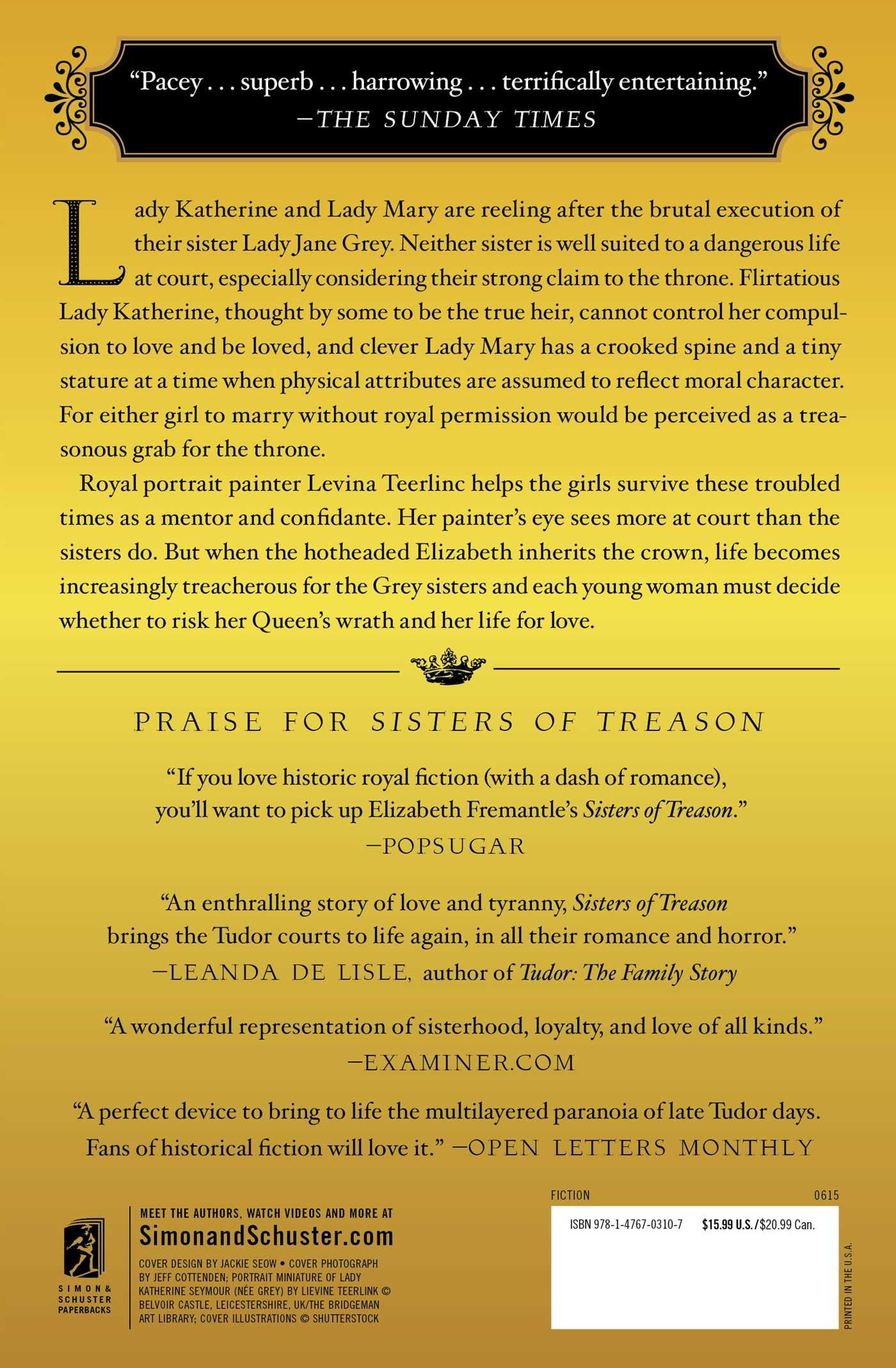 Sisters Of Treason: A Novel: Elizabeth Fremantle: 9781476703107:  Amazon: Books