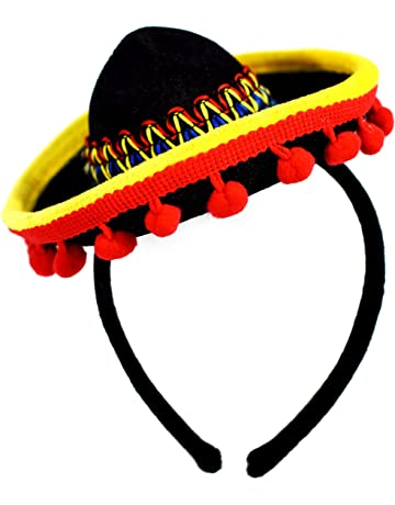 2d33962c1db KINREX Cinco de Mayo Sombrero Headband - Mexican Fiesta Party Hat  Decorations - Red Ball Fringe
