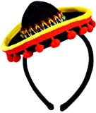 KINREX Cinco de Mayo Headband - Fiesta Sombrero Hat with Red Ball Fringe - Party Favors Decorations - One Size Fits All