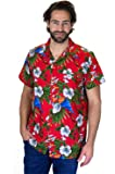 Funky Hawaiian Shirt For Men Short Sleeve Front-Pocket Parrot Cherry Red