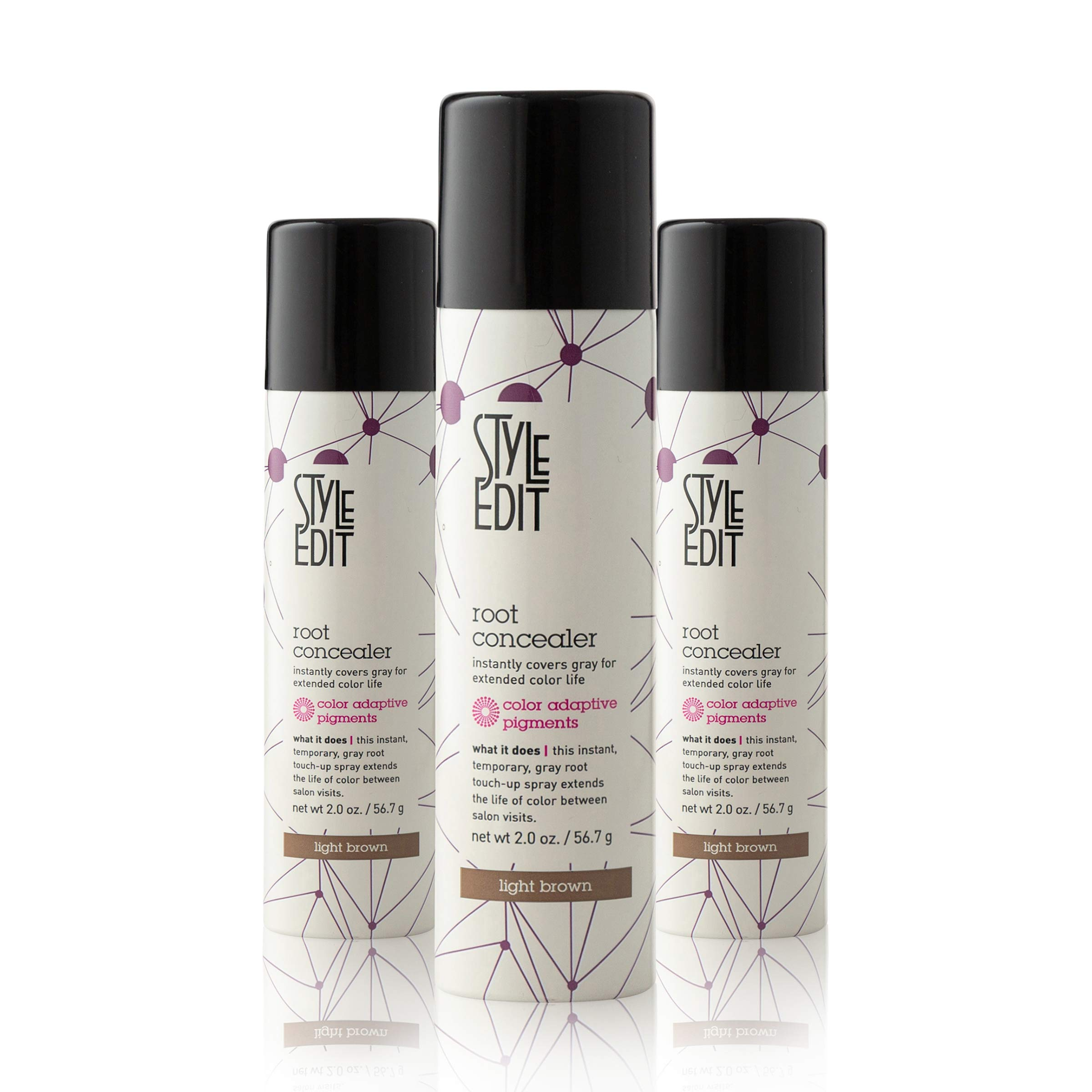 Style Edit Root Concealer Touch Up Spray | Instantly Covers Grey Roots | Professional Salon Quality Cover Up Hair Products for Women | Light Brown 2 Ounce (Pack of 3) by STYLE EDIT