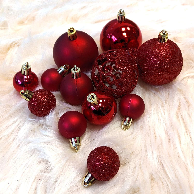 Wohaga/® Set de 105 Bolas de Navidad /Ø3//4//6cm pl/ástico Adornos del /árbol de Navidad decoraci/ón navide/ña decoraci/ón para el Abeto