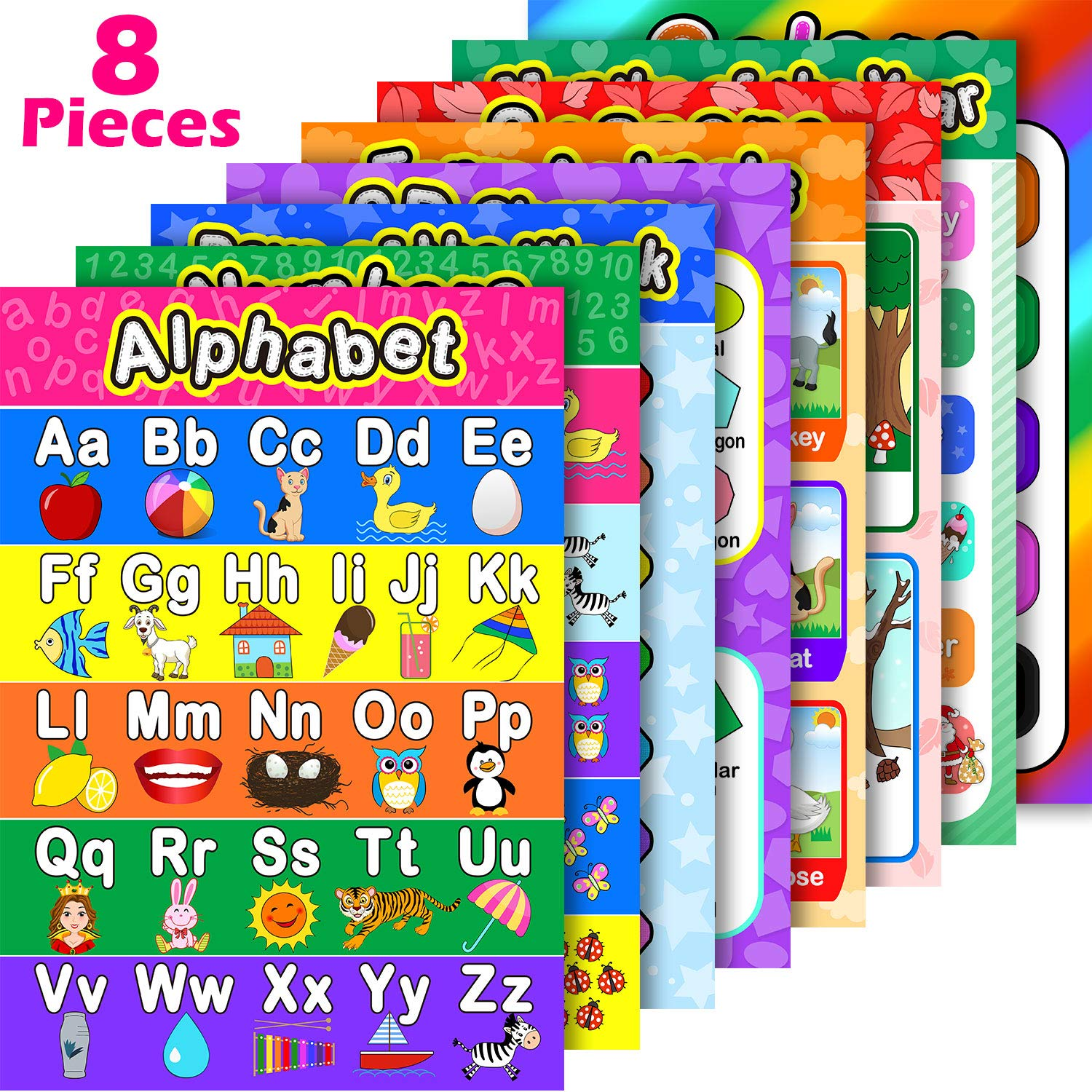 8 Educational Preschool Posters for Toddler and Kid Learning with 60 Glue Point Dot for Nursery Preschool Homeschool Kindergarten Classroom - Teach Numbers Alphabet Colors Months and More 16 x 11 Inch