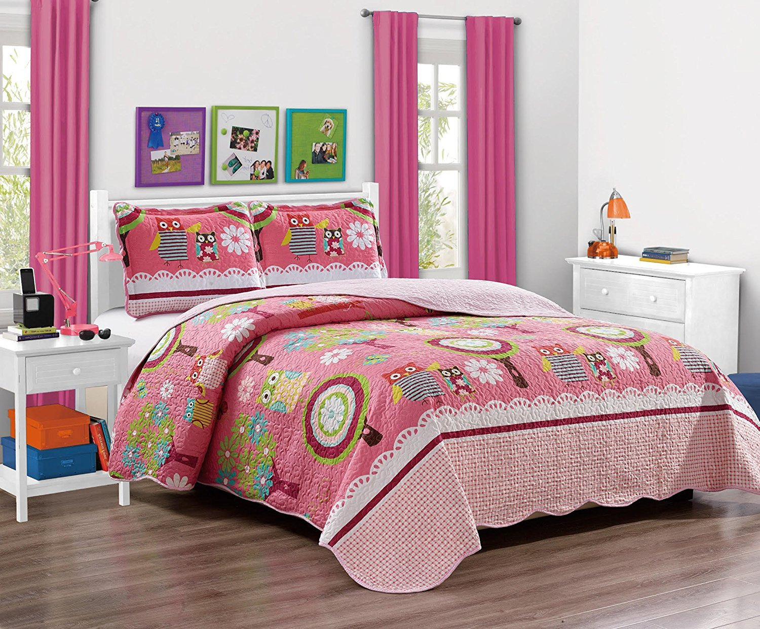 MK Home Mk Collection 5pc Twin Bedspread Set With Sheet Set Teens/Girls Owl Pink New # Owl Pink