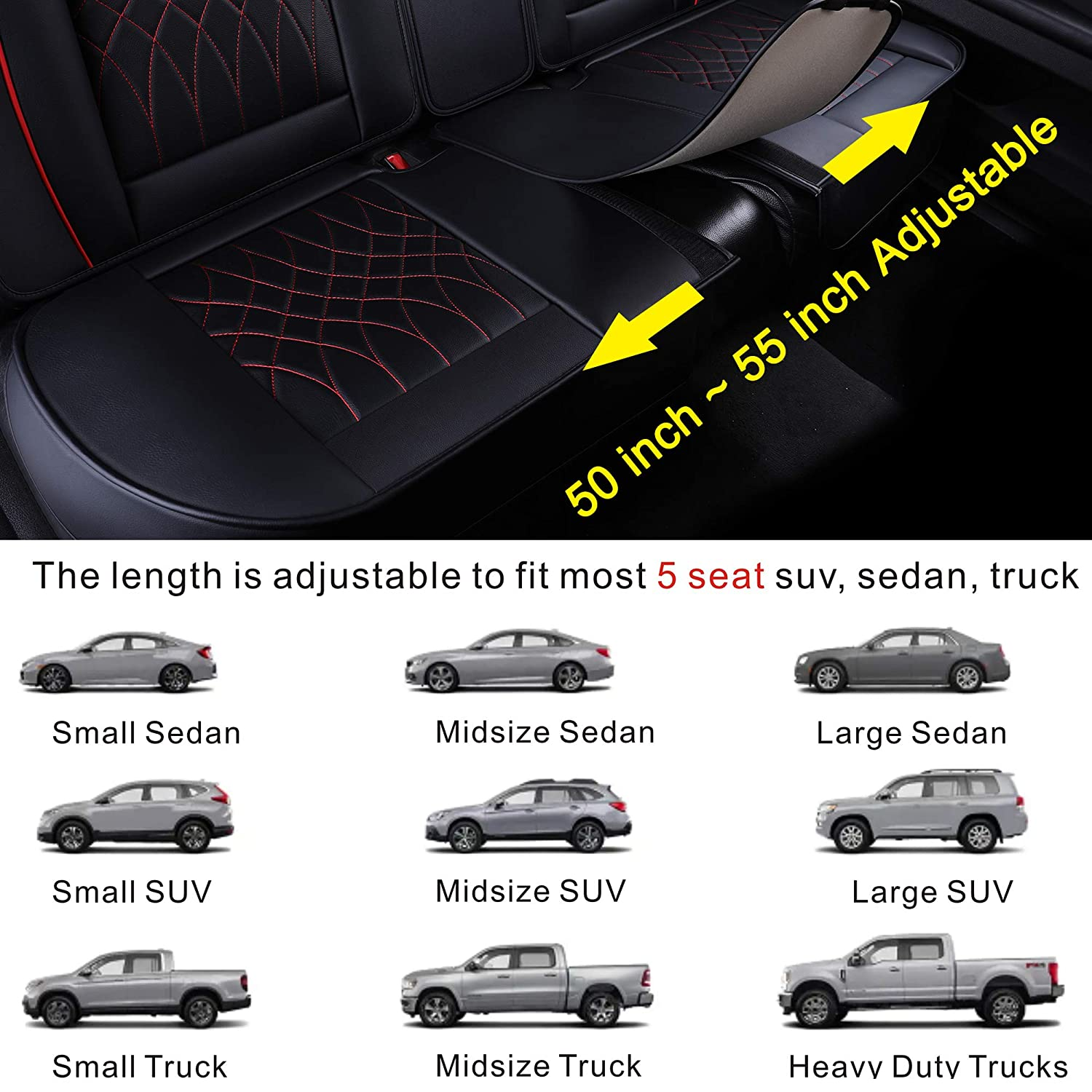 Black Full Set LUCKYMAN CLUB 5 Car Seat Covers Full Set with Waterproof Leather Universal for Sedan SUV Truck Fit for Most Hyundai Kia Honda Mazda Nissan Toyota Chevy