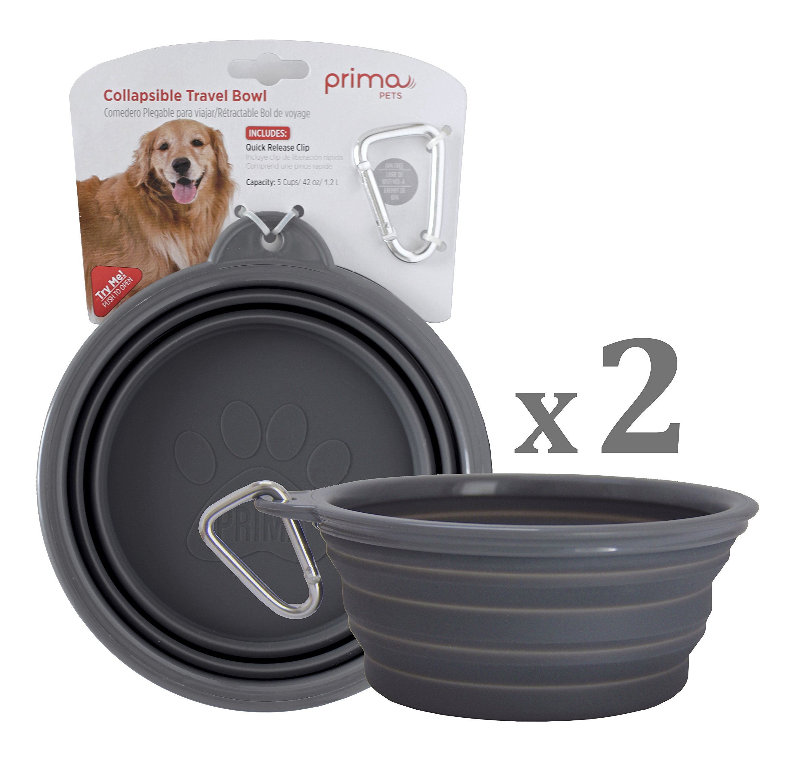 SALE: Prima Pet Collapsible Silicone Water Travel Bowl with Clip for Dog and Cat, Portable and Durable Pop-up Feeder for Convenient On-the-go Feeding – Size: LARGE (5 Cups) GREY – 2 PACK