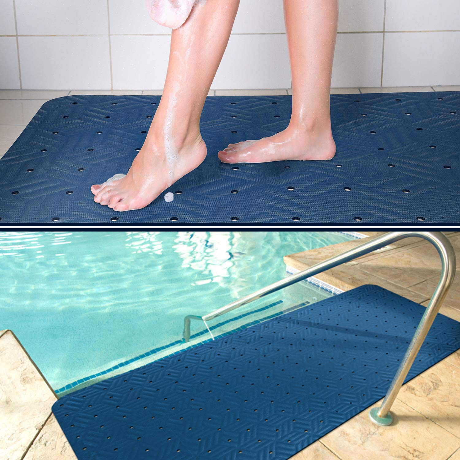 Wet Step Indoor/Outdoor Mat (2' x 3' Blue)-Non-Slip Antimicrobial Drainable Soft and Comfortable Anti-Fatigue Mat for Wet Areas - Locker Room, Shower, Swimming Pool Deck, Spa, Bathroom, by M+A Matting
