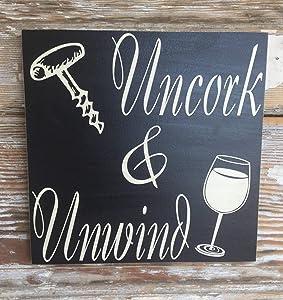 "PotteLove Rustic Wooden Plaque Wall Art Hanging Sign Uncork & Unwind Wine Sign Wood Sign. Funny Wine Sign 12""X12"""
