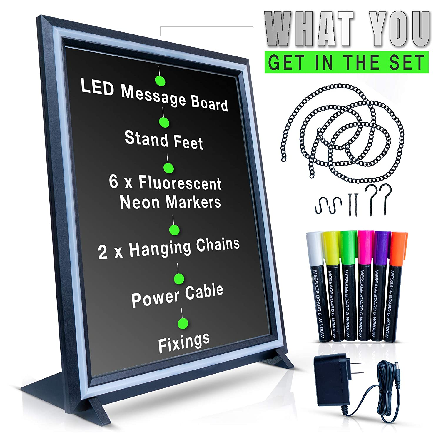 Green Light LED Message Writing Board with 8 Border Color Options, 23
