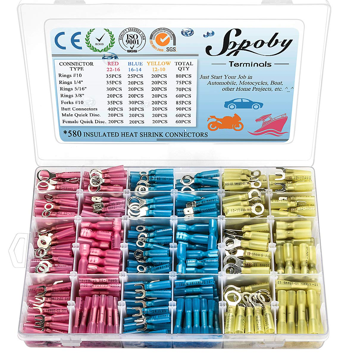 580 PCS Heat Shrink Wire Connectors, Sopoby Electrical Terminals Kit Marine Automotive Crimp Connector Assortment, Ring Fork Spade Butt Splices