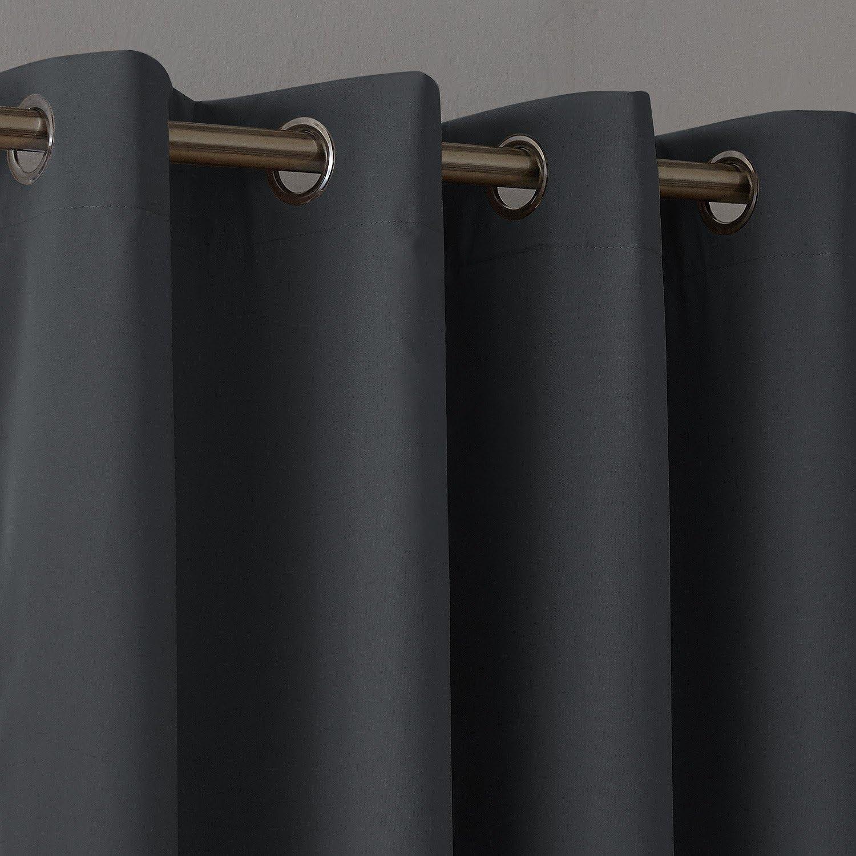 Deconovo Tende Termiche Isolanti in Tessuto Oxford per Camera da Letto Moderne con Occhielli 117x138cm Rosso 2 Pannelli