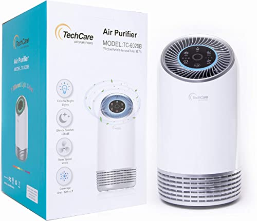 Air Purifier Bedroom Office Use True Hepa Filter Silent Comfort White Noise Smart Air Cleaner Smokers Eliminate Allergies Odor Dust Eliminator High Efficiently Carbon Filters 2 Years Warranty