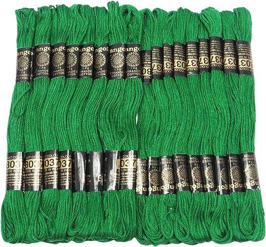 IBA Indianbeautifulart 25 PC Verde Hilo de algodón de la Puntada de la madeja de Aguja de Coser Hilo de Bordar: Amazon.es: Hogar