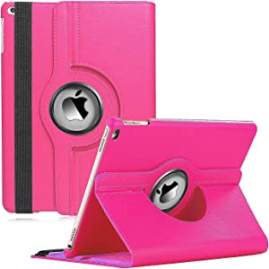 iPad Mini Case Fit iPad Mini 3 case/ipad Mini 2 case/ipad Mini 1 case - 360 Degree Rotating Stand Case Cover with Auto Wake/Sleep Compatible with Apple iPad Mini 1/2/3 case (Rose Red)