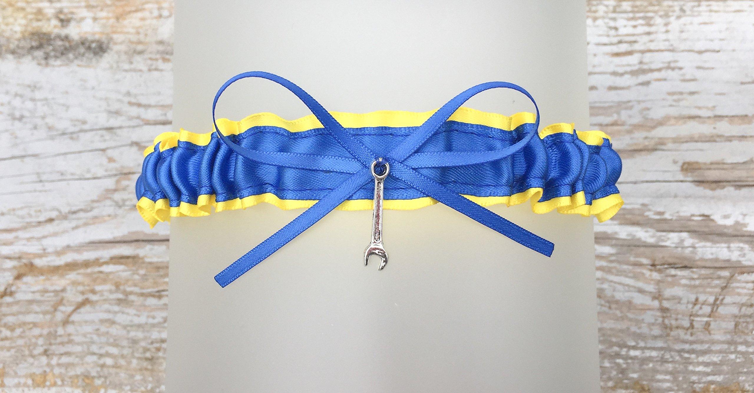 Sexy Yellow Royal Blue Satin Toss Bridal Garter - Pick A Charm