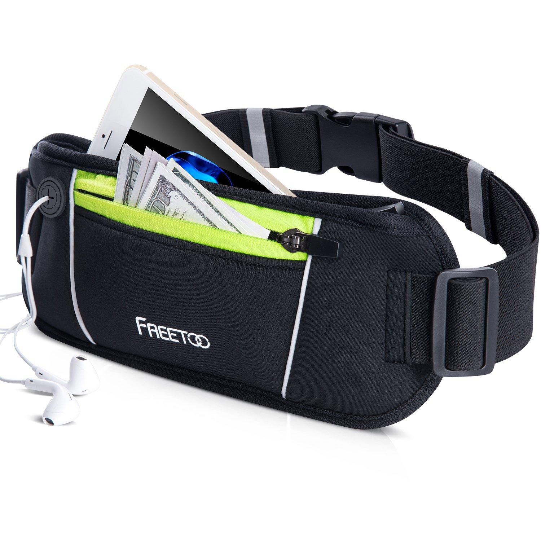 FREETOO Running Belt, Running Waist Pack Bounce Free Waist Pouch Exercise Workout Belt for Women&Men, Ideal for Apple iPhone 8/7/6s/6 (Black&Green) (Slim (10.4'' 3.7'') - up to 5.2'')