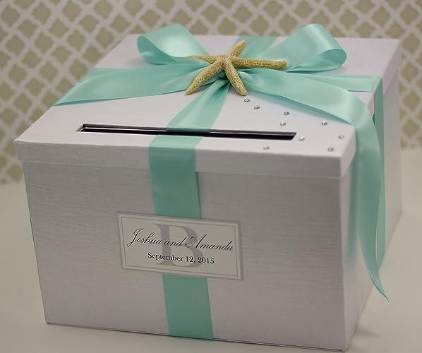 Amazon.com: Wedding Card Holder Box Beach Theme White and Aqua Blue ...