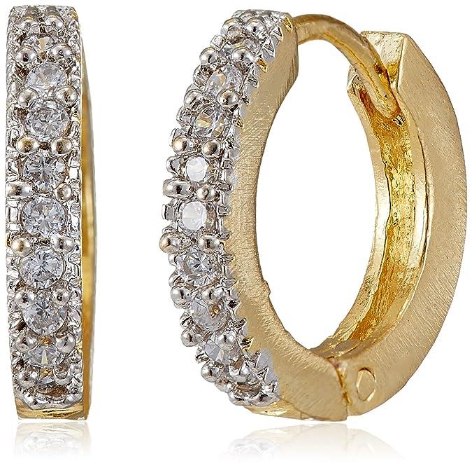 Ava Golden American Diamond Hoop Earrings For Women Earrings at amazon