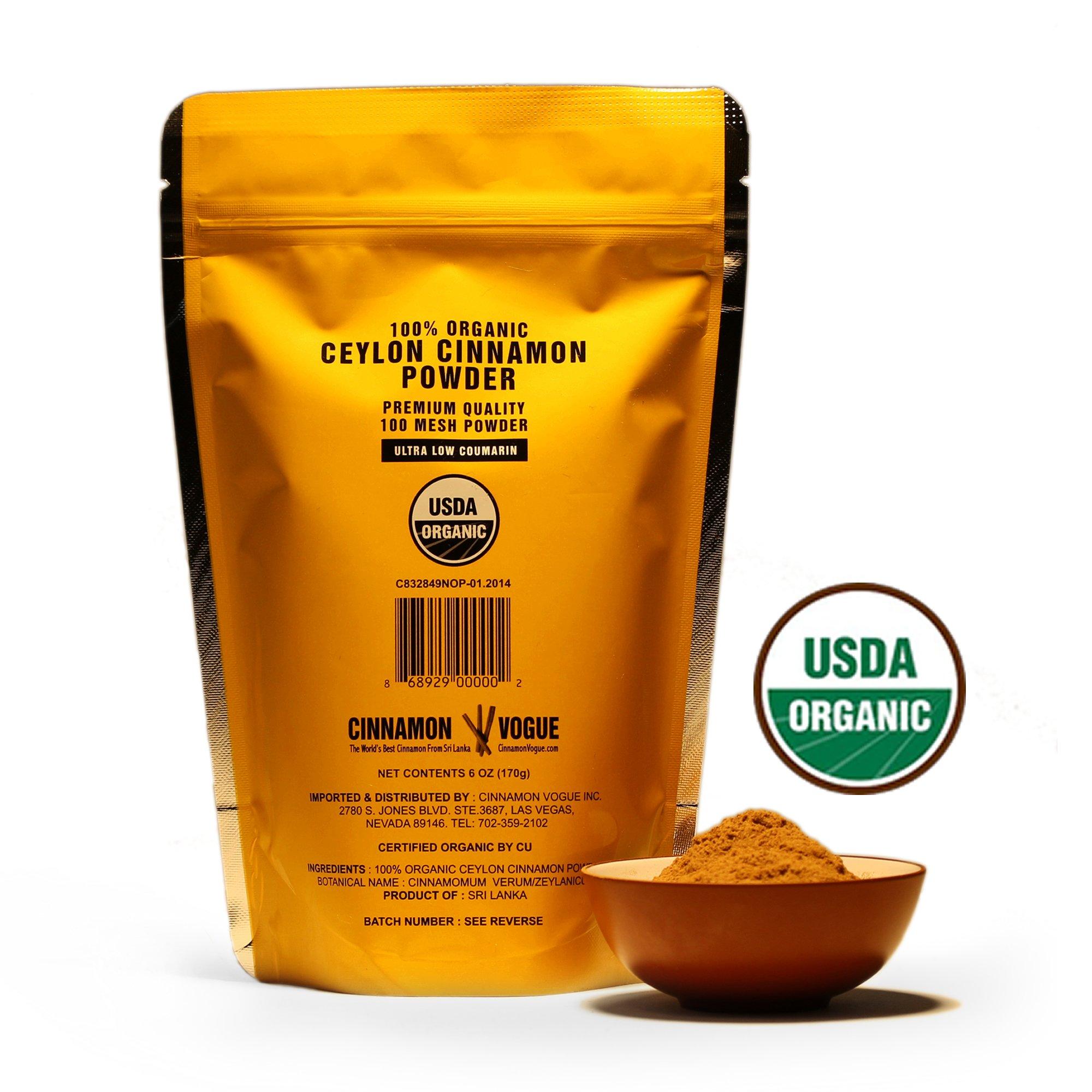 Ceylon Cinnamon Powder – 6 oz. (100% USDA Organic) - Ultra Premium Fine 100 Mesh Powder, Salt Free, Non irradiated, Low Coumarin by Cinnamon Vogue (Image #2)
