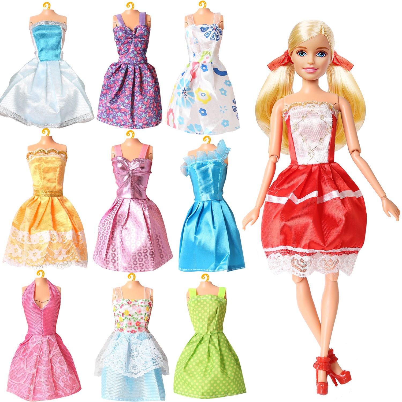 Pack of 9 guangdong chenhai haixing factory Rainbow Handmade Dresses for Barbie Doll