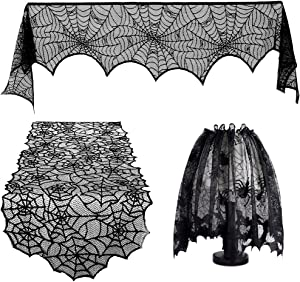 Halloween Fireplace Decoration Festive Party Supplies Lace Spiderweb Fireplace Mantle Scarf Cover Black Cobweb Fireplace Scarf Indoor Halloween Door Table Porch Decor