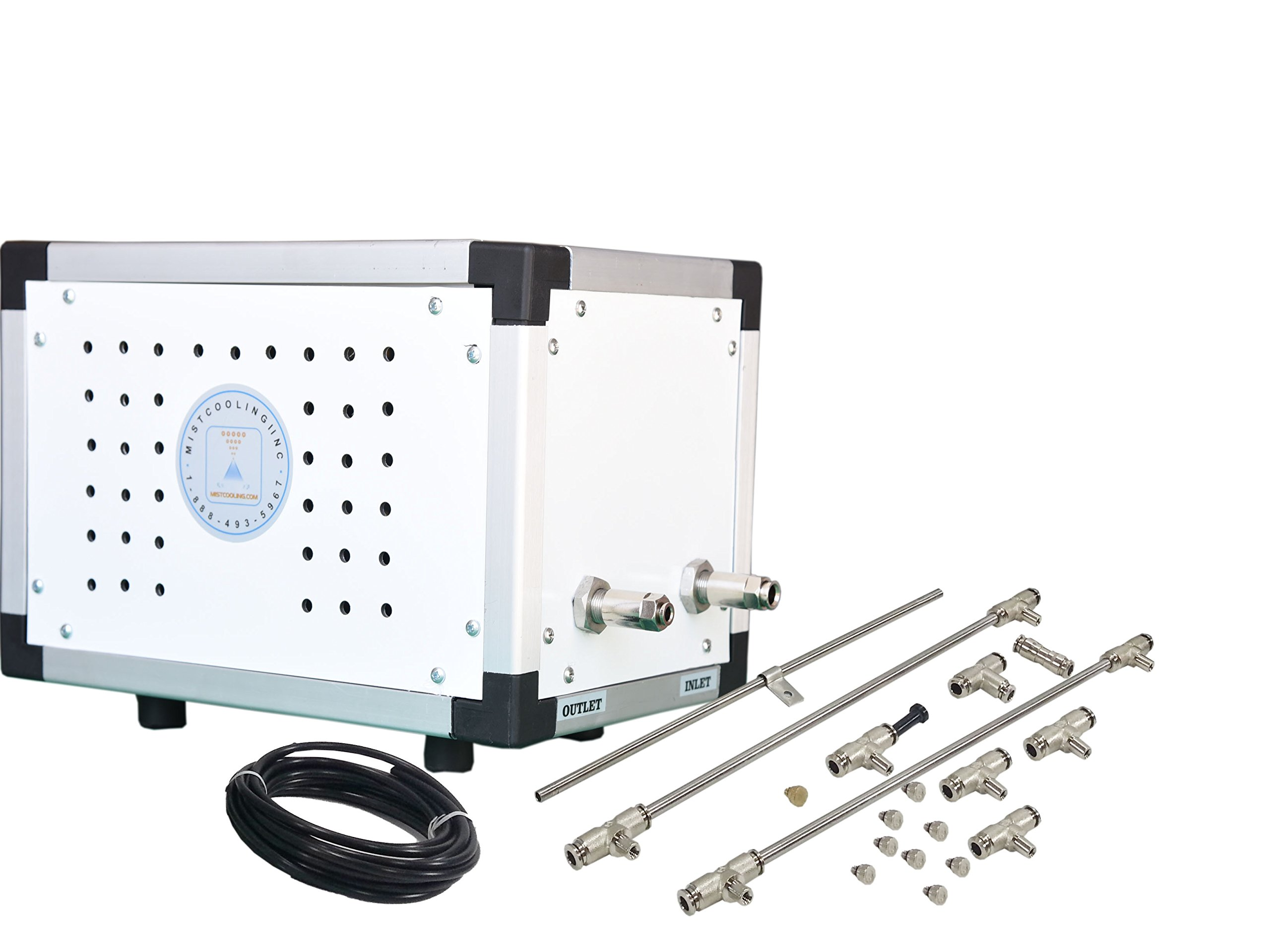 Industrial Misting System - Patio Misting System - 250 PSI Misting Pump, Stainless Steel Tubing - For Residential. Commercial, Outdoor Restaurant and Industrial Misting Application (20 Nozzle System) by mistcooling