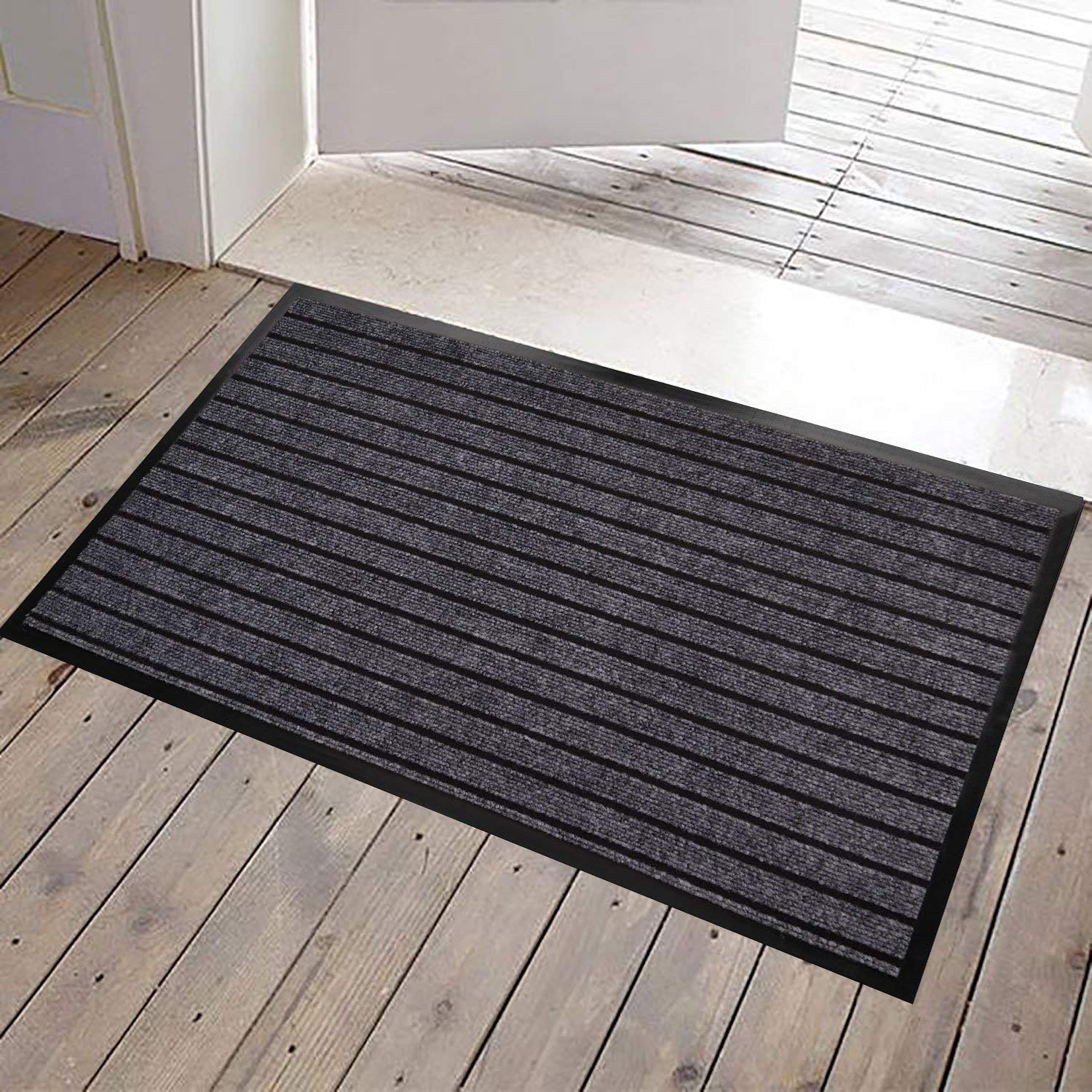 JINWEN JWGJW 3333-1 Large Outdoor Door Mats Rubber Front Entrance Outside Doormat 24''x 36'' Patio Rug Dirt Debris Mud Trapper Waterproof Out Door Mat Profile Washable Carpet Several Colors(Gray)