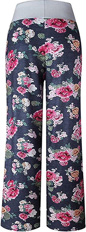 X-Image Womens Comfy Stretch Floral Print Drawstring Long Wide Leg Lounge Pants