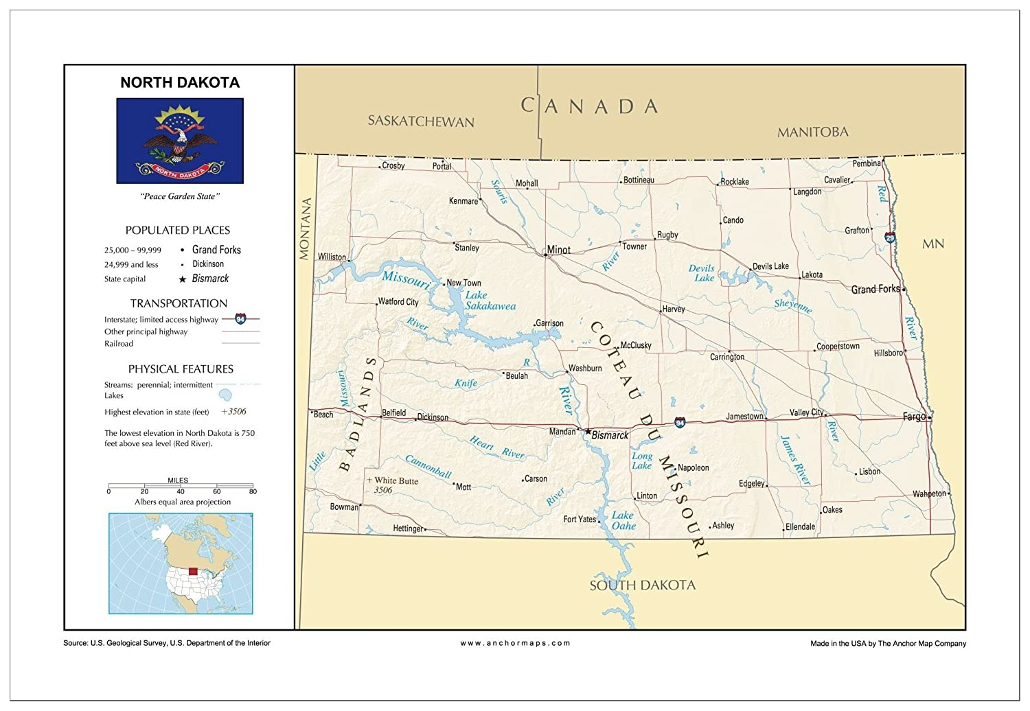 Amazon.com : 13x19 North Dakota General Reference Wall Map ...