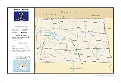 Amazon.com : 13x19 North Dakota General Reference Wall Map - Anchor on