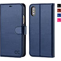 Ocase Leather Flip Wallet Phone Case for iPhone X (Blue)