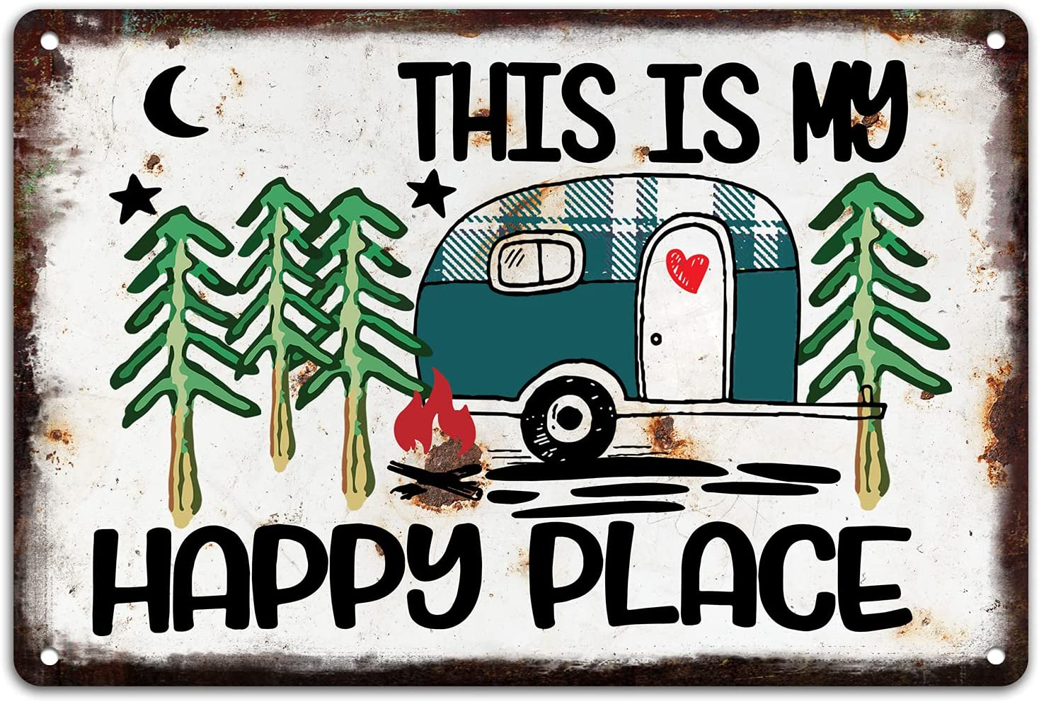 OCCdesign Rustic Camper Metal Tin Decor Sign Home RV Camper Accessories Wall Décor Gift Idea for Friend Family Motorhomes/Farmhouse RV Camping-This is My Happy place-M025