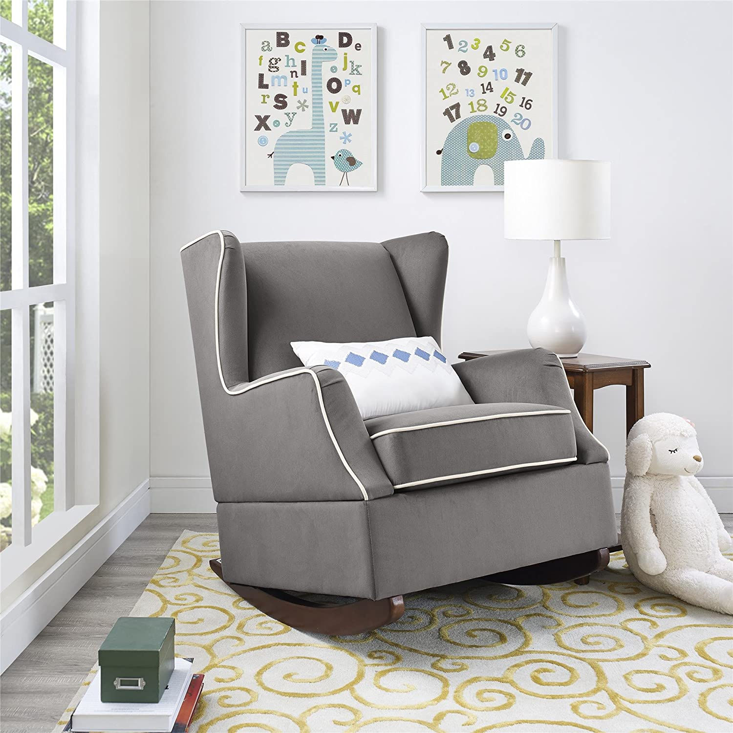 Attrayant Amazon.com: Baby Relax Hudson Upholstered Wingback Nursery Room Rocker,  Graphite Gray: Baby