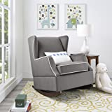 Baby Relax Hudson Upholstered Wingback Nursery Room Rocker, Graphite Gray Gray