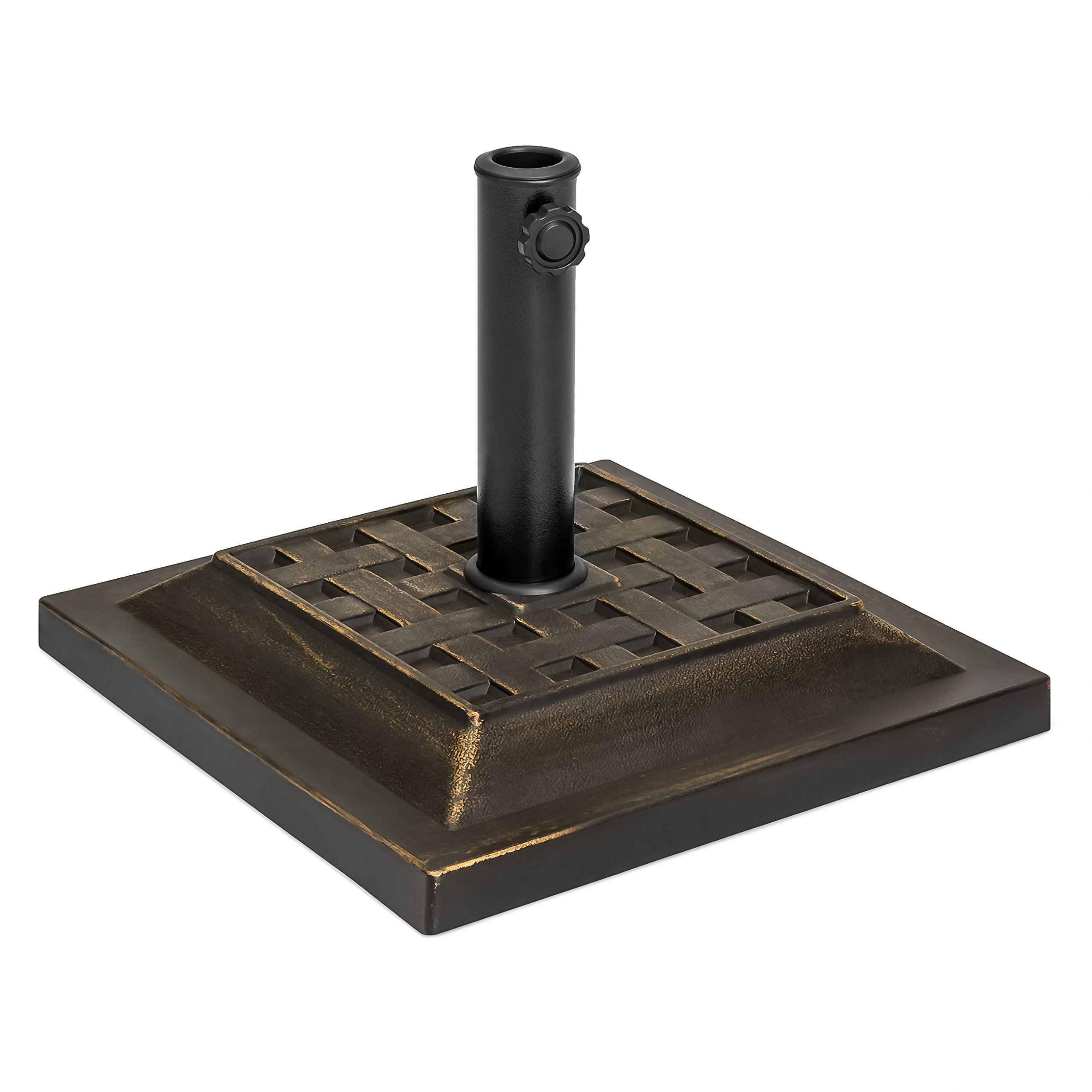 Best Choice Products Outdoor Patio Heavy Duty Steel Square Umbrella Base Stand w/Decorative Basketweave Pattern - Black