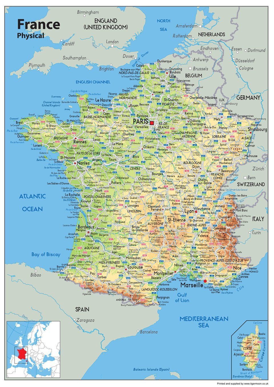 /A0/Gr/ö/ße 84.1/x 118.9/cm Frankreich Physikalische Karte/ /Papier laminiert/